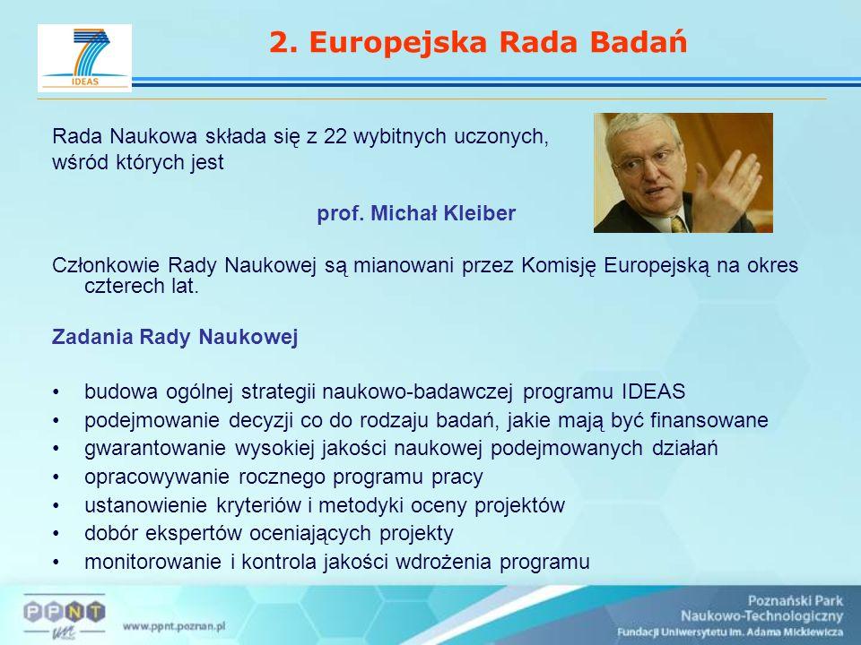2. Europejska Rada Badań Rada Naukowa składa się z 22 wybitnych uczonych, wśród których jest prof.