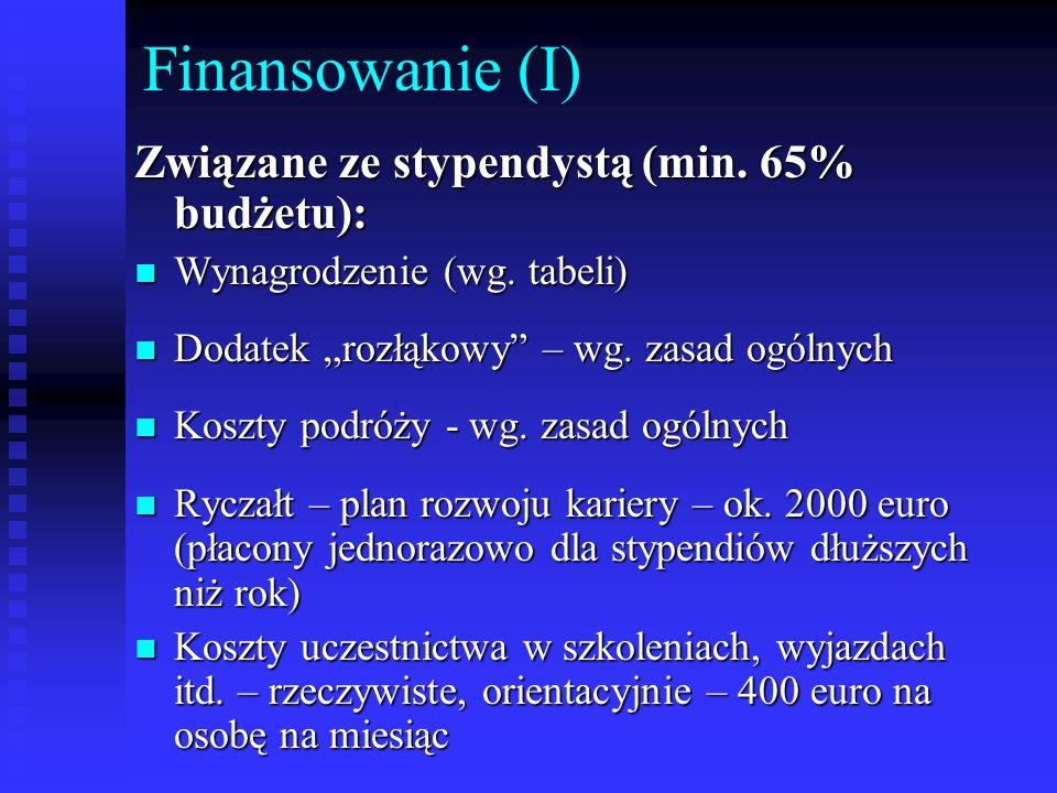 Finansowanie (I) Związane ze stypendystą (min. 65% budżetu): Wynagrodzenie (wg. tabeli) Wynagrodzenie (wg. tabeli) Dodatek rozłąkowy – wg. zasad ogóln