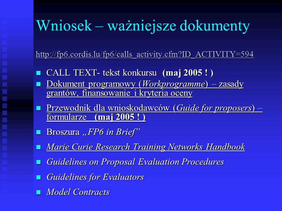 Wniosek – ważniejsze dokumenty http://fp6.cordis.lu/fp6/calls_activity.cfm?ID_ACTIVITY=594 CALL TEXT- tekst konkursu (maj 2005 ! ) CALL TEXT- tekst ko