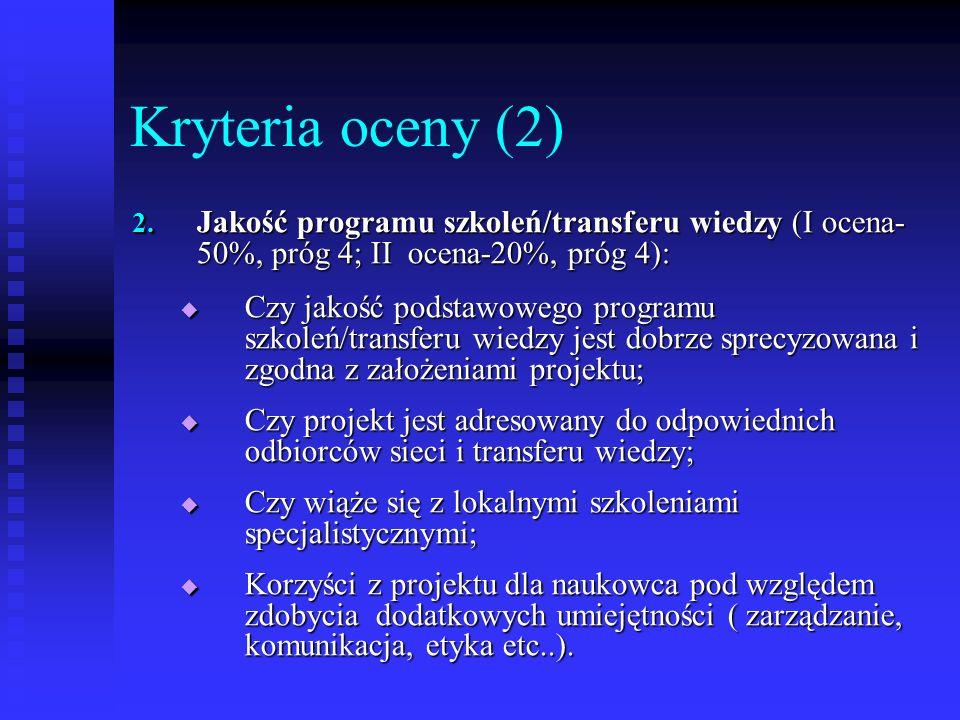 Kryteria oceny (2) 2. Jakość programu szkoleń/transferu wiedzy (I ocena- 50%, próg 4; II ocena-20%, próg 4): Czy jakość podstawowego programu szkoleń/