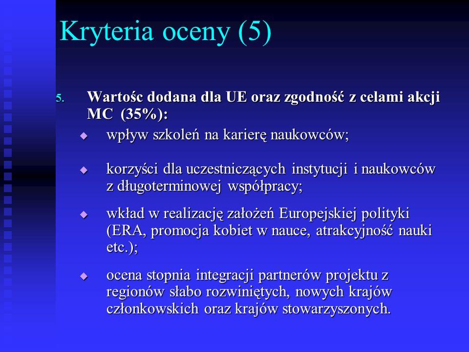 Kryteria oceny (5) 5. Wartośc dodana dla UE oraz zgodność z celami akcji MC (35%): wpływ szkoleń na karierę naukowców; wpływ szkoleń na karierę naukow