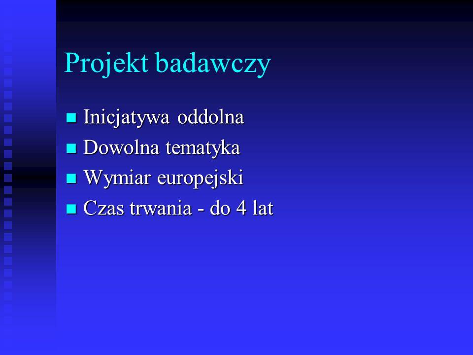Projekt badawczy Inicjatywa oddolna Inicjatywa oddolna Dowolna tematyka Dowolna tematyka Wymiar europejski Wymiar europejski Czas trwania - do 4 lat C