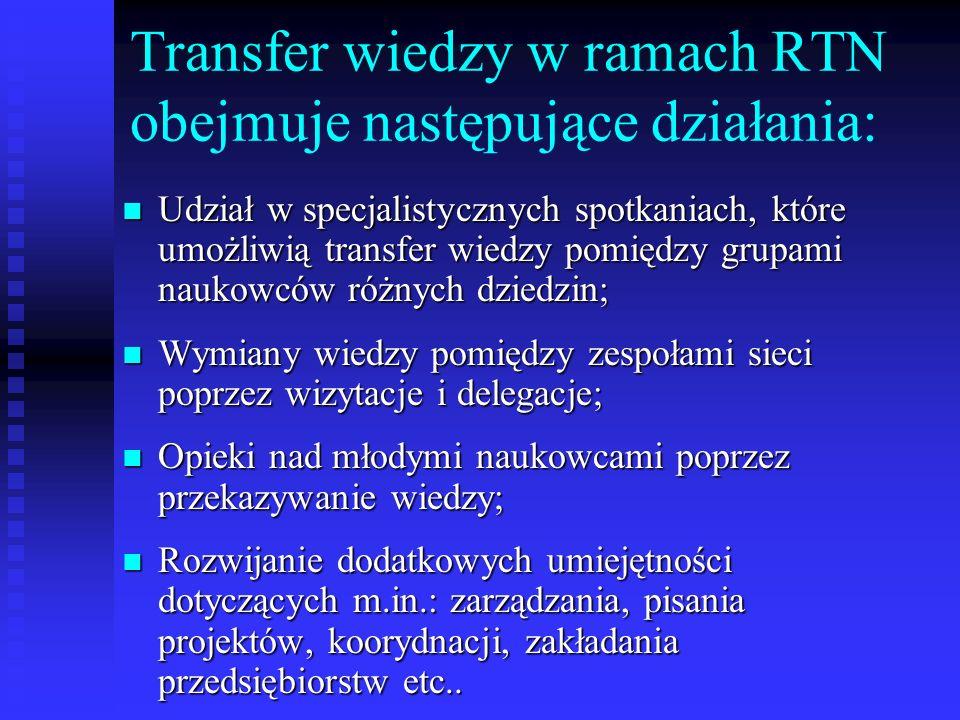 Transfer wiedzy w ramach RTN obejmuje następujące działania: Udział w specjalistycznych spotkaniach, które umożliwią transfer wiedzy pomiędzy grupami