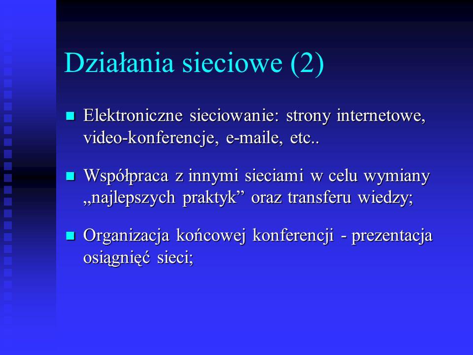 Działania sieciowe (2) Elektroniczne sieciowanie: strony internetowe, video-konferencje, e-maile, etc.. Elektroniczne sieciowanie: strony internetowe,