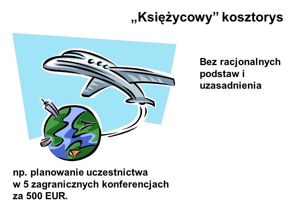 np. planowanie uczestnictwa w 5 zagranicznych konferencjach za 500 EUR. Księżycowy kosztorys Bez racjonalnych podstaw i uzasadnienia