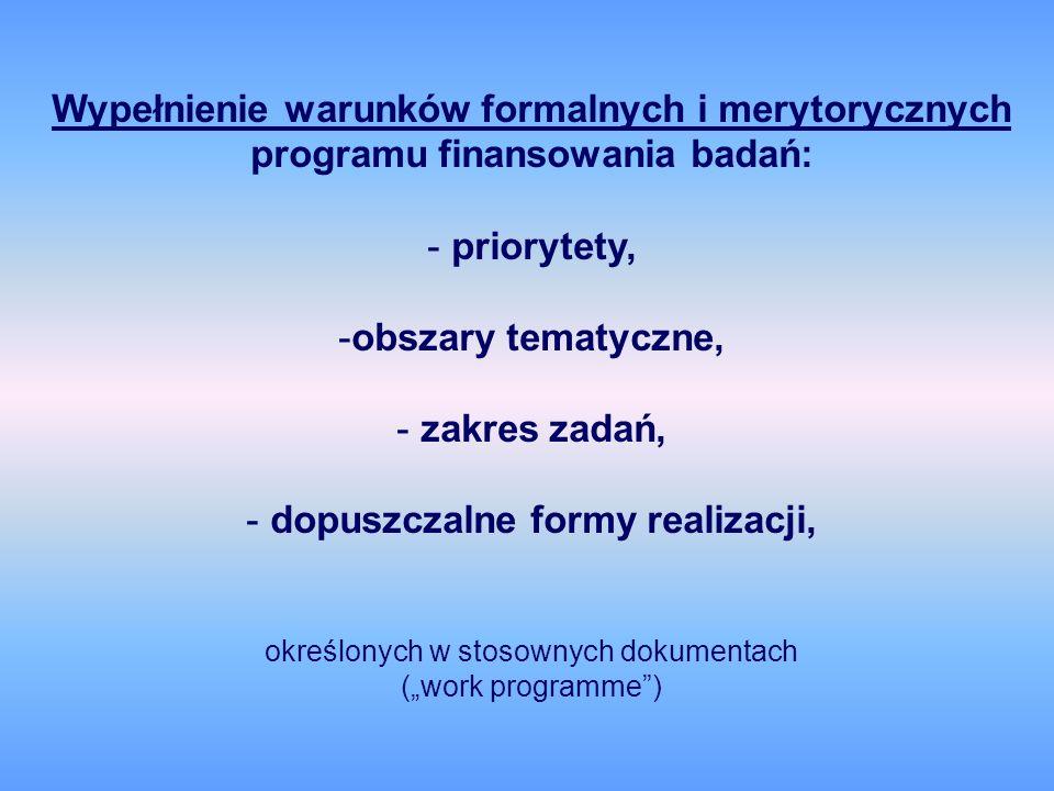 Wypełnienie warunków formalnych i merytorycznych programu finansowania badań: - priorytety, -obszary tematyczne, - zakres zadań, - dopuszczalne formy realizacji, określonych w stosownych dokumentach (work programme)