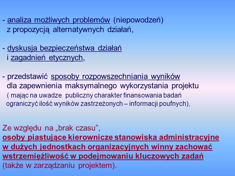 - analiza możliwych problemów (niepowodzeń) z propozycją alternatywnych działań, - dyskusja bezpieczeństwa działań i zagadnień etycznych, - przedstawi
