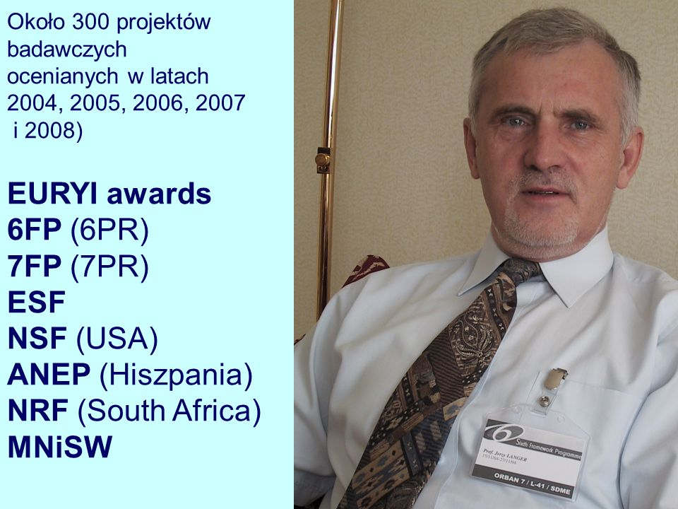 Około 300 projektów badawczych ocenianych w latach 2004, 2005, 2006, 2007 i 2008) EURYI awards 6FP (6PR) 7FP (7PR) ESF NSF (USA) ANEP (Hiszpania) NRF (South Africa) MNiSW