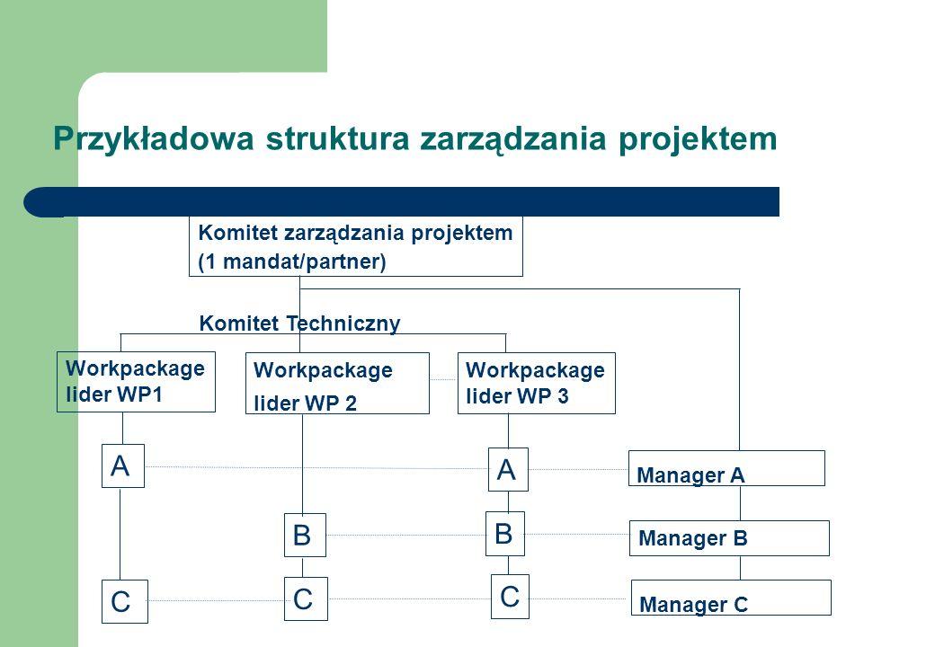 Przykładowa struktura zarządzania projektem Komitet zarządzania projektem (1 mandat/partner) Workpackage lider WP1 Workpackage lider WP 2 Workpackage