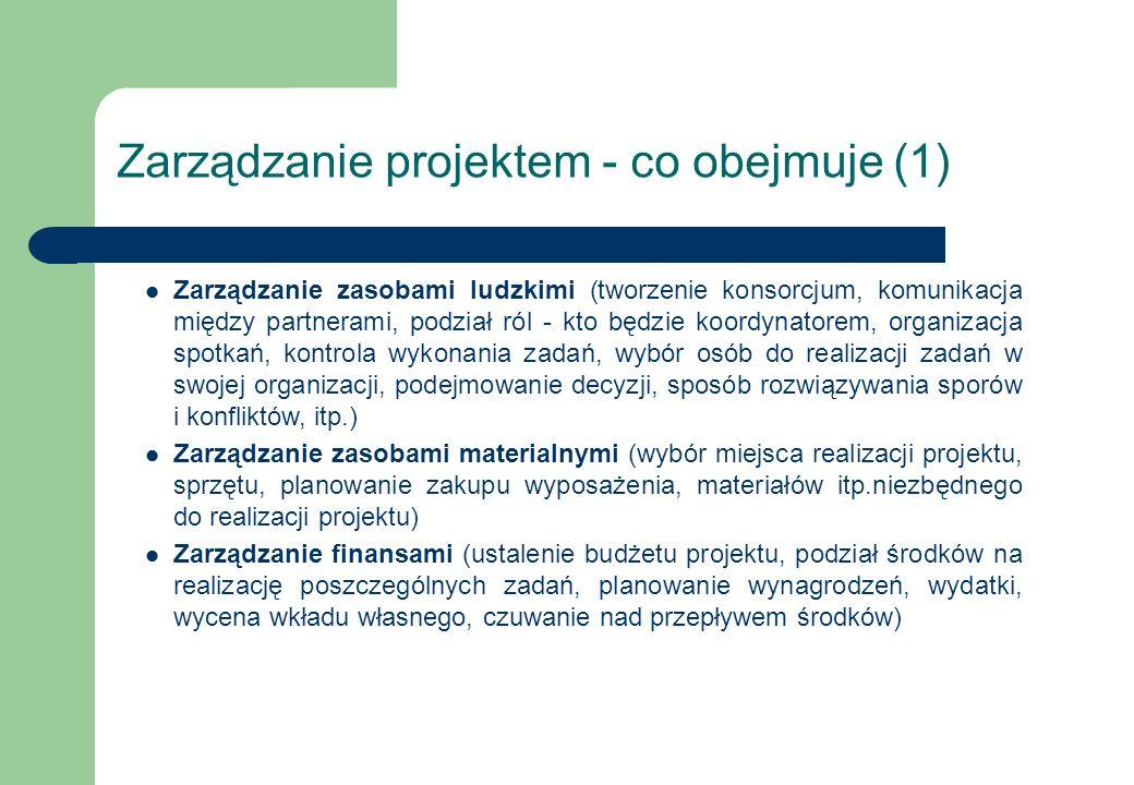 Zarządzanie projektem - co obejmuje (1) Zarządzanie zasobami ludzkimi (tworzenie konsorcjum, komunikacja między partnerami, podział ról - kto będzie k