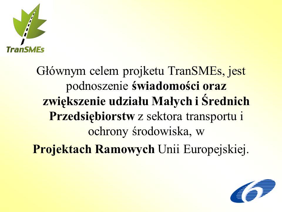 Głównym celem projketu TranSMEs, jest podnoszenie świadomości oraz zwiększenie udziału Małych i Średnich Przedsiębiorstw z sektora transportu i ochrony środowiska, w Projektach Ramowych Unii Europejskiej.