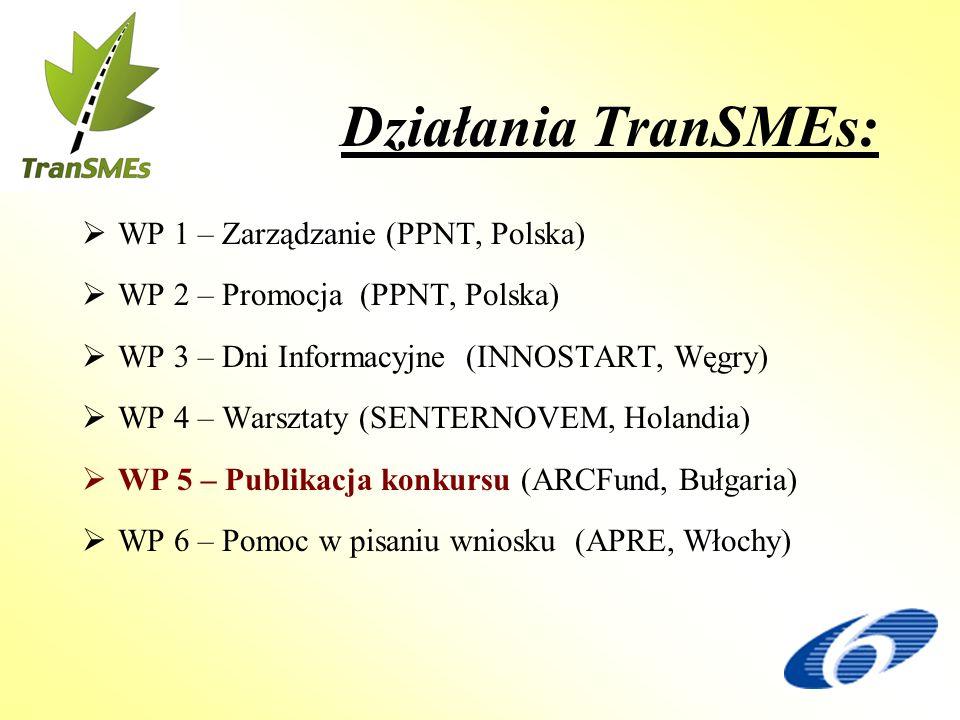 Działania TranSMEs: WP 1 – Zarządzanie (PPNT, Polska) WP 2 – Promocja (PPNT, Polska) WP 3 – Dni Informacyjne (INNOSTART, Węgry) WP 4 – Warsztaty (SENTERNOVEM, Holandia) WP 5 – Publikacja konkursu (ARCFund, Bułgaria) WP 6 – Pomoc w pisaniu wniosku (APRE, Włochy)