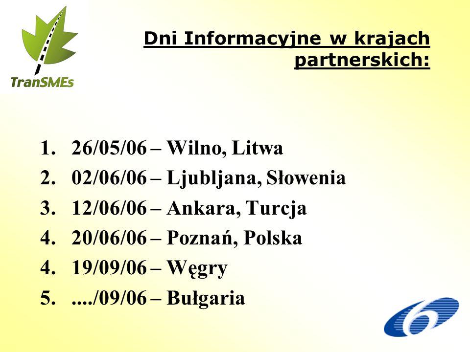 Dni Informacyjne w krajach partnerskich: 1. 26/05/06 – Wilno, Litwa 2.