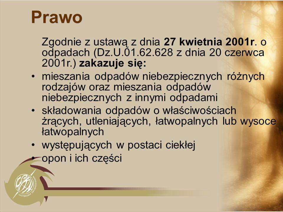 Prawo Zgodnie z ustawą z dnia 27 kwietnia 2001r. o odpadach (Dz.U.01.62.628 z dnia 20 czerwca 2001r.) zakazuje się: mieszania odpadów niebezpiecznych