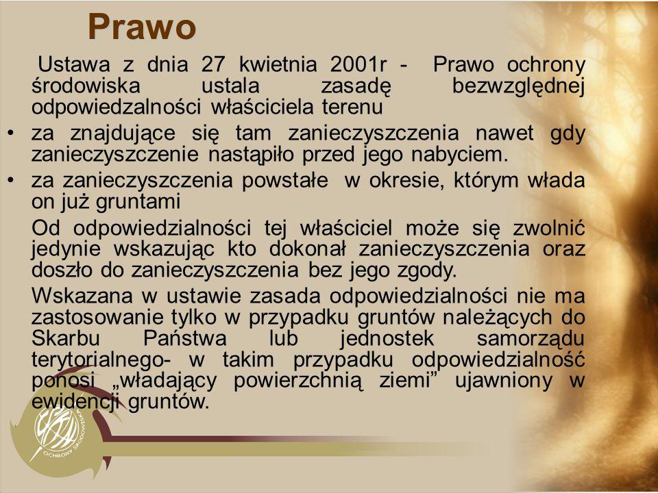 Prawo Ustawa z dnia 27 kwietnia 2001r - Prawo ochrony środowiska ustala zasadę bezwzględnej odpowiedzalności właściciela terenu za znajdujące się tam