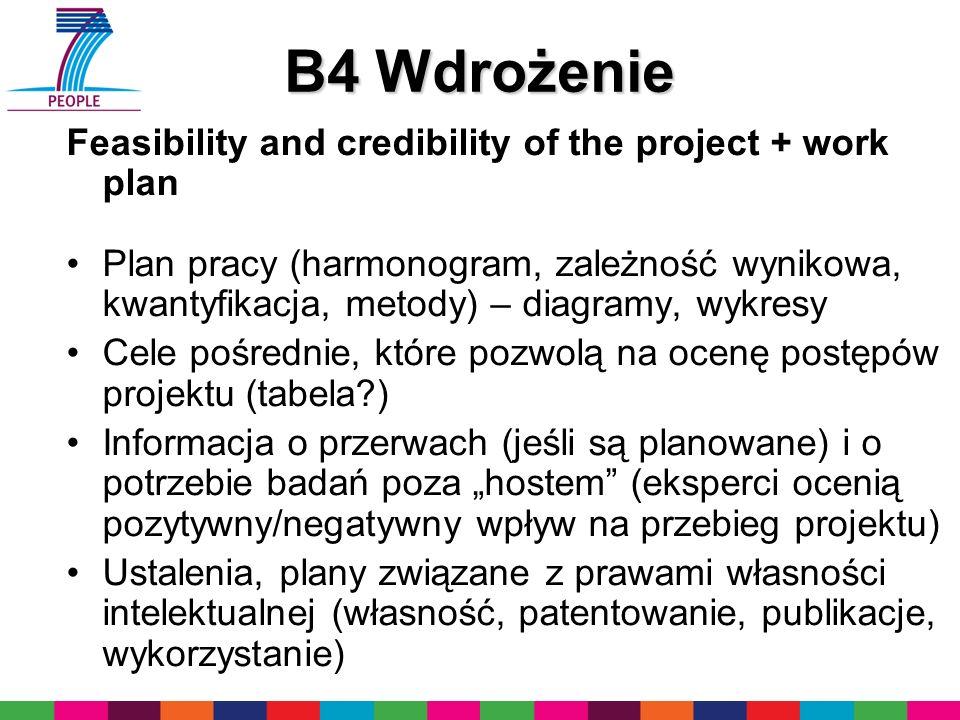 B4 Wdrożenie Feasibility and credibility of the project + work plan Plan pracy (harmonogram, zależność wynikowa, kwantyfikacja, metody) – diagramy, wykresy Cele pośrednie, które pozwolą na ocenę postępów projektu (tabela ) Informacja o przerwach (jeśli są planowane) i o potrzebie badań poza hostem (eksperci ocenią pozytywny/negatywny wpływ na przebieg projektu) Ustalenia, plany związane z prawami własności intelektualnej (własność, patentowanie, publikacje, wykorzystanie)