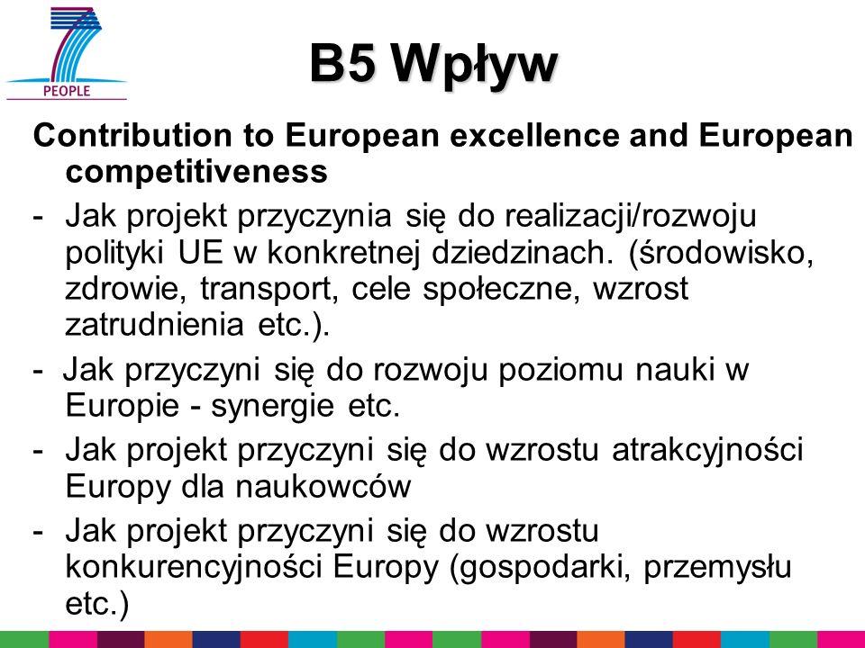B5 Wpływ Contribution to European excellence and European competitiveness -Jak projekt przyczynia się do realizacji/rozwoju polityki UE w konkretnej dziedzinach.