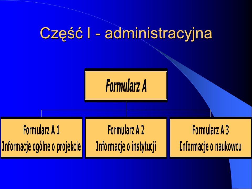 Część I - administracyjna