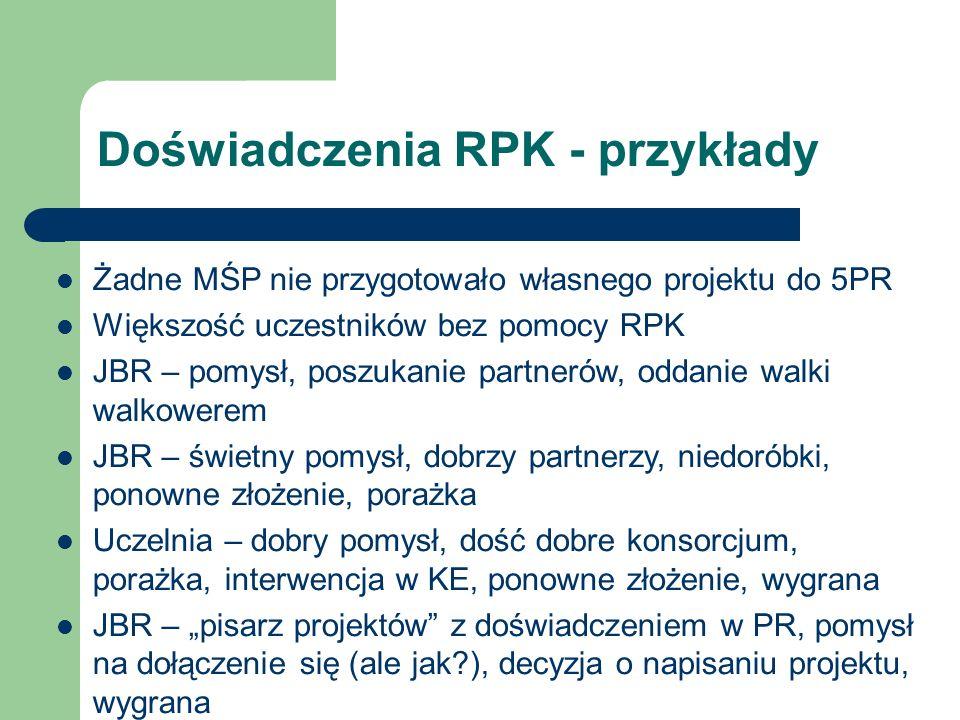 Polskie firmy w 5PR Firmy rzadko inicjatorami projektów Najczęściej zaproszenia z zagranicy i JBR (MŚP mile widziane w projektach) Nawet jeśli są pomysły to brak determinacji Potrzeba szczególnego podejścia ze strony KPK?
