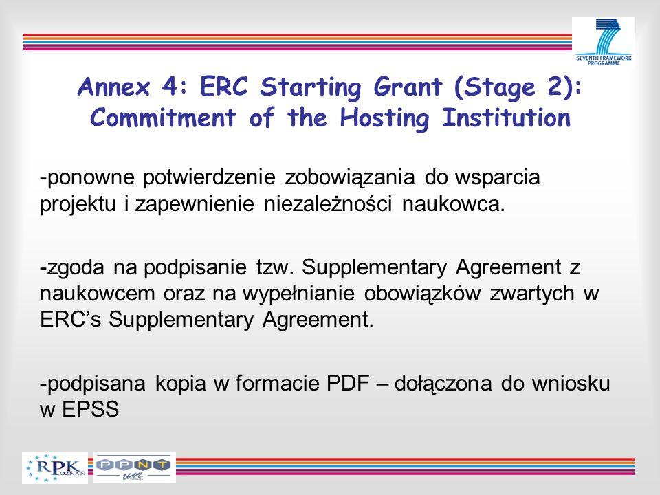 Annex 4: ERC Starting Grant (Stage 2): Commitment of the Hosting Institution -ponowne potwierdzenie zobowiązania do wsparcia projektu i zapewnienie niezależności naukowca.