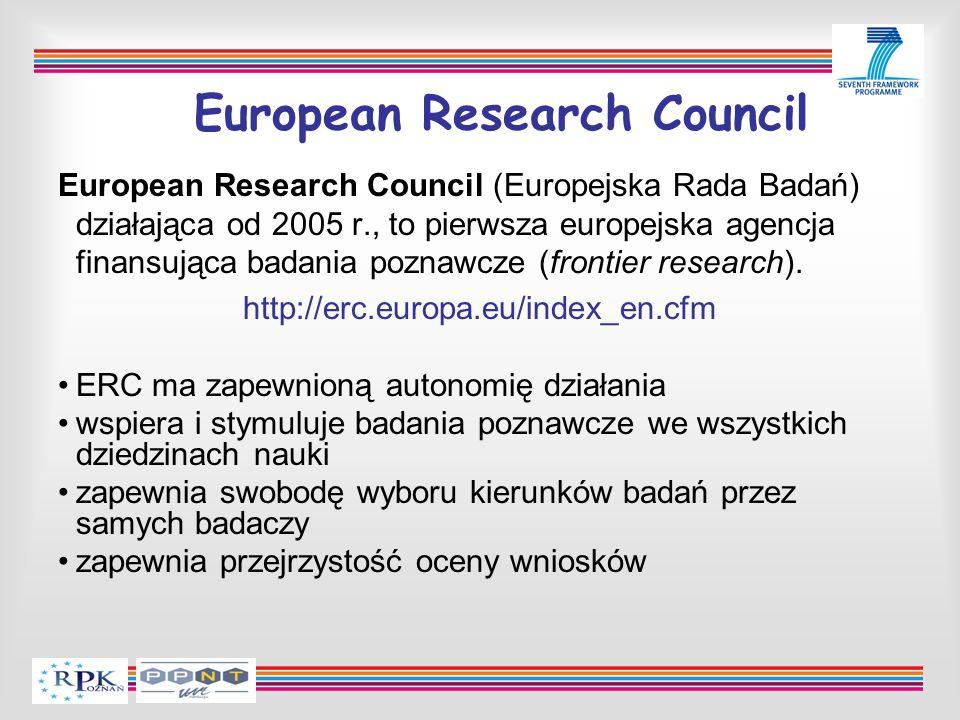 European Research Council European Research Council (Europejska Rada Badań) działająca od 2005 r., to pierwsza europejska agencja finansująca badania