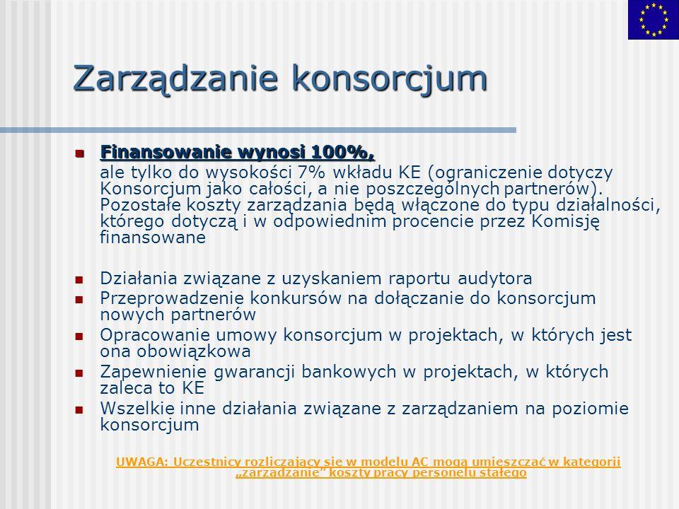 Zarządzanie konsorcjum Finansowanie wynosi 100%, Finansowanie wynosi 100%, ale tylko do wysokości 7% wkładu KE (ograniczenie dotyczy Konsorcjum jako c