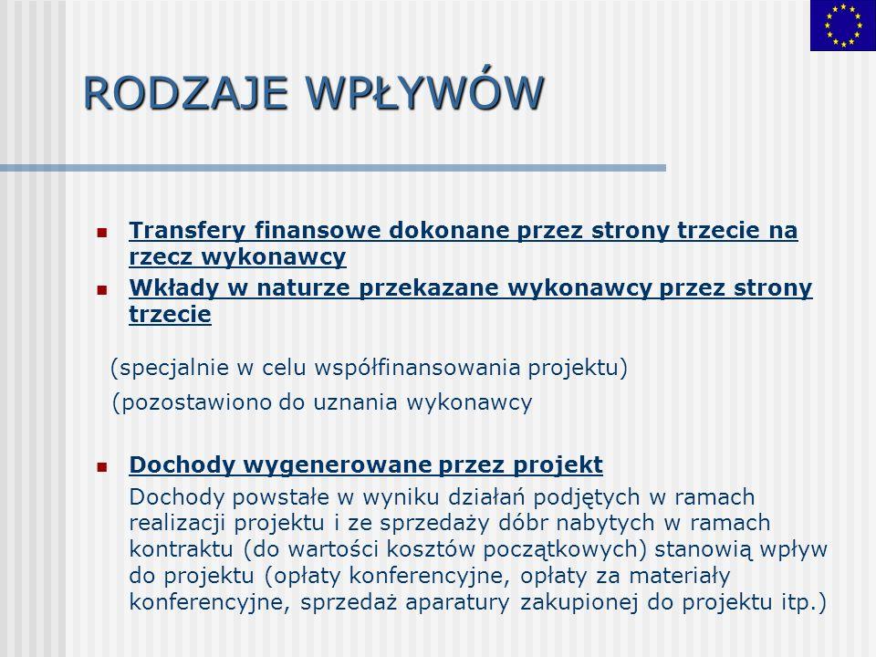 RODZAJE WPŁYWÓW Transfery finansowe dokonane przez strony trzecie na rzecz wykonawcy Wkłady w naturze przekazane wykonawcy przez strony trzecie (specj