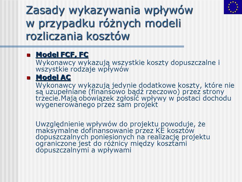 Zasady wykazywania wpływów w przypadku różnych modeli rozliczania kosztów Model FCF, FC Model FCF, FC Wykonawcy wykazują wszystkie koszty dopuszczalne