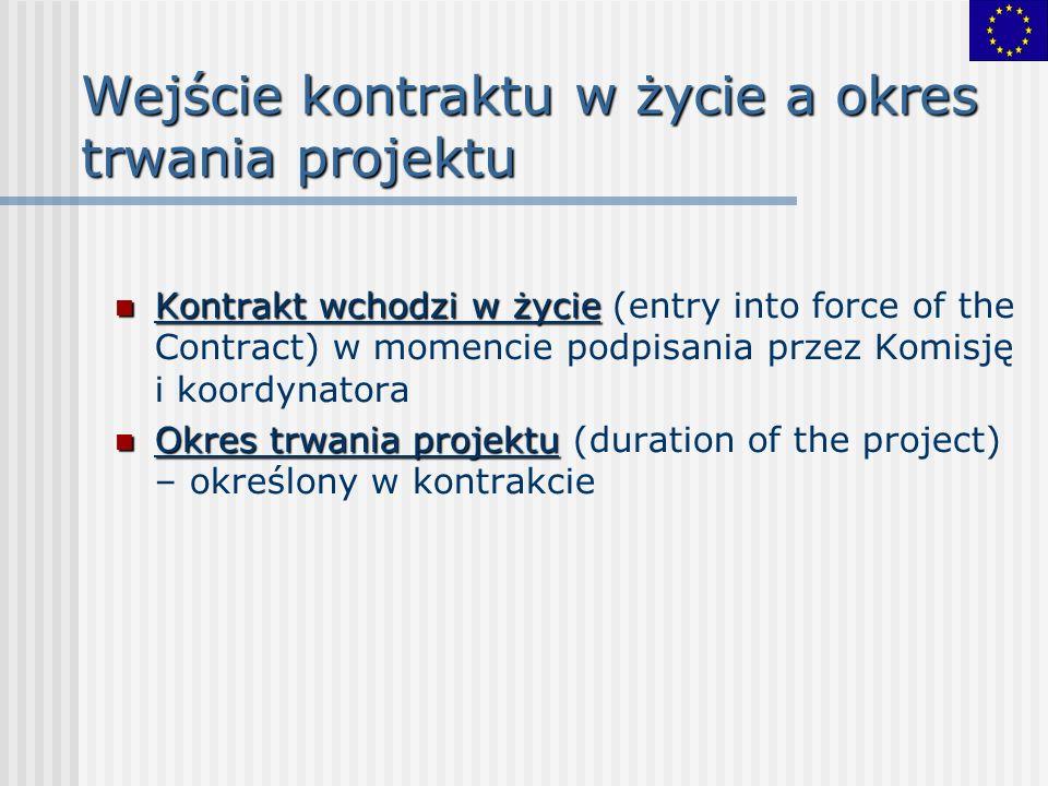 Wejście kontraktu w życie a okres trwania projektu Kontrakt wchodzi w życie Kontrakt wchodzi w życie (entry into force of the Contract) w momencie podpisania przez Komisję i koordynatora Okres trwania projektu Okres trwania projektu (duration of the project) – określony w kontrakcie