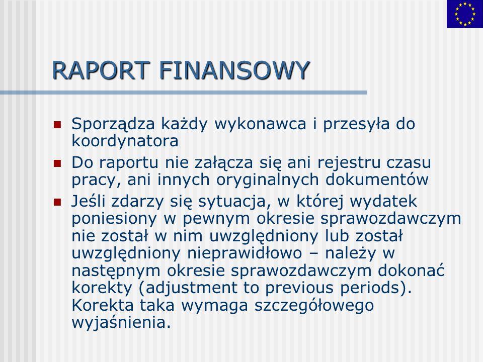 RAPORT FINANSOWY Sporządza każdy wykonawca i przesyła do koordynatora Do raportu nie załącza się ani rejestru czasu pracy, ani innych oryginalnych dokumentów Jeśli zdarzy się sytuacja, w której wydatek poniesiony w pewnym okresie sprawozdawczym nie został w nim uwzględniony lub został uwzględniony nieprawidłowo – należy w następnym okresie sprawozdawczym dokonać korekty (adjustment to previous periods).