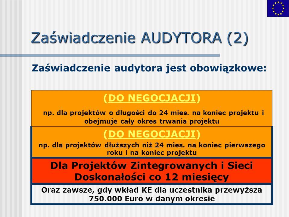 Zaświadczenie AUDYTORA (2) Zaświadczenie audytora jest obowiązkowe: (DO NEGOCJACJI) np.