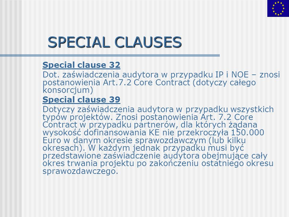 SPECIAL CLAUSES Special clause 32 Dot.