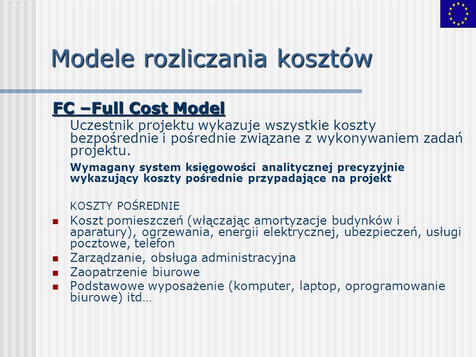 Modele rozliczania kosztów FC –Full Cost Model Uczestnik projektu wykazuje wszystkie koszty bezpośrednie i pośrednie związane z wykonywaniem zadań pro