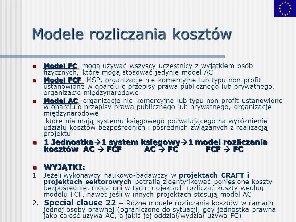 Modele rozliczania kosztów Model FC Model FC -mogą używać wszyscy uczestnicy z wyjątkiem osób fizycznych, które mogą stosować jedynie model AC Model FCF Model FCF -MŚP, organizacje nie-komercyjne lub typu non-profit ustanowione w oparciu o przepisy prawa publicznego lub prywatnego, organizacje międzynarodowe Model AC Model AC -organizacje nie-komercyjne lub typu non-profit ustanowione w oparciu o przepisy prawa publicznego lub prywatnego, organizacje międzynarodowe które nie mają systemu księgowego pozwalającego na wyróżnienie udziału kosztów bezpośrednich i pośrednich związanych z realizacją projektu 1 Jednostka 1 system księgowy 1 model rozliczania kosztów AC FCF AC FC FCF FC 1 Jednostka 1 system księgowy 1 model rozliczania kosztów AC FCF AC FC FCF FC WYJĄTKI: WYJĄTKI: 1 Jeżeli wykonawcy naukowo-badawczy w projektach CRAFT i projektach sektorowych potrafią zidentyfikować poniesione koszty bezpośrednie, mogą oni w tych projektach rozliczać koszty według modelu FCF, nawet jeśli w innych projektach stosują model AC 2.