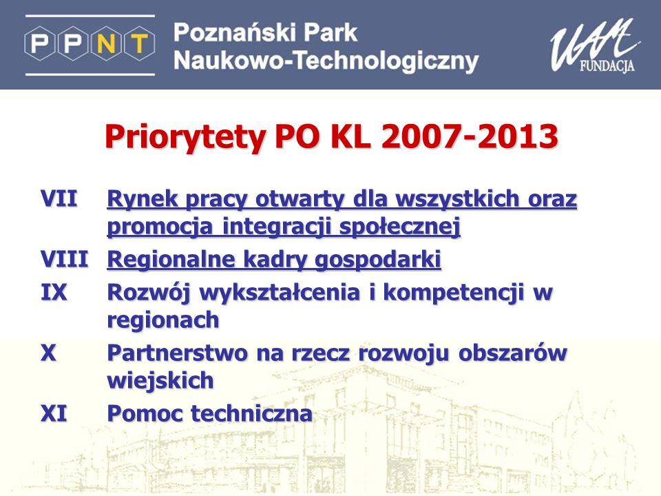 5 Ogólne zasady wdrażania Priorytety I - VI - wdrażane centralnie (na poziomie ministerialnym) – 40% alokacji Priorytety VII - X - wdrażane regionalnie - Samorząd Województwa, WUP, inny podmiot wskazany przez Samorząd Województwa – 60% alokacji Projekty ponadnarodowe i innowacyjne – wdrażane przekrojowo w ramach każdego Priorytetu, z wyłączeniem Priorytetu X – do 5% alokacji Projekty systemowe – projekty realizowane przez wskazane instytucje, Instytucję Pośredniczącą lub Wdrażającą (IW)