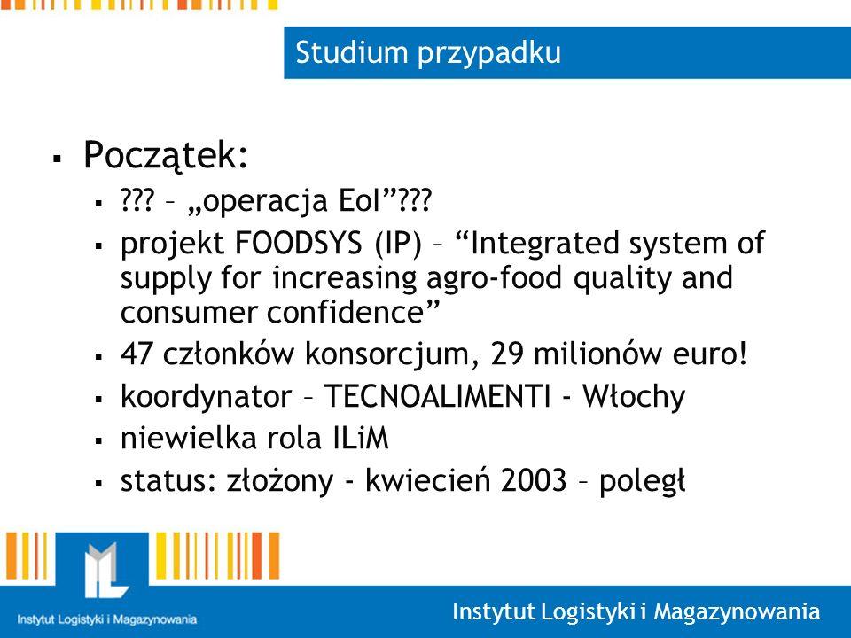Instytut Logistyki i Magazynowania Studium przypadku Początek: .