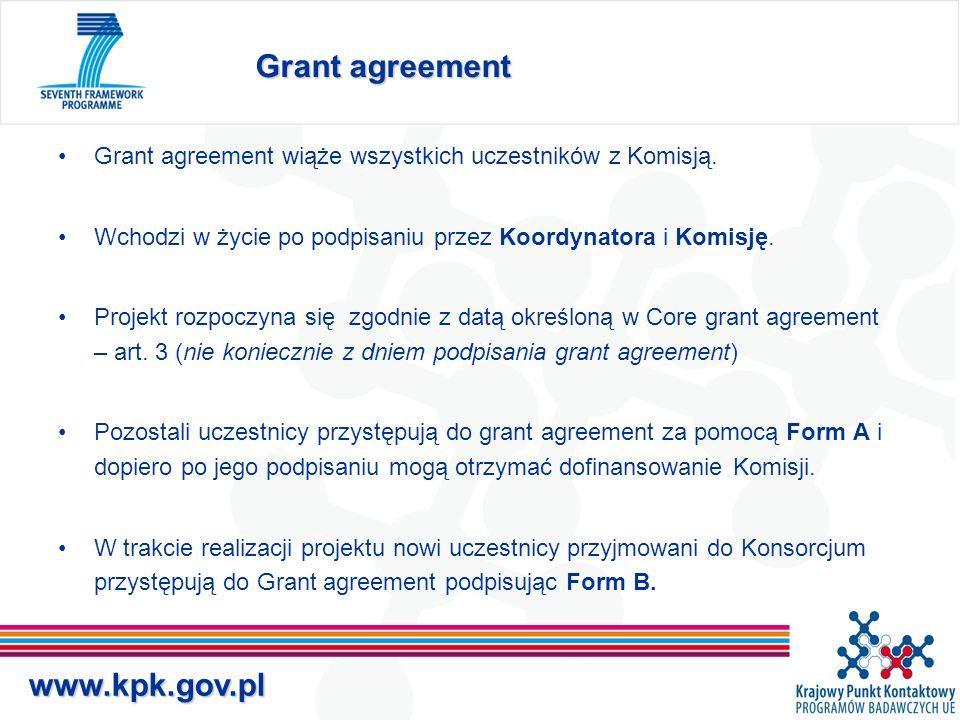 www.kpk.gov.pl Grant agreement Grant agreement wiąże wszystkich uczestników z Komisją.