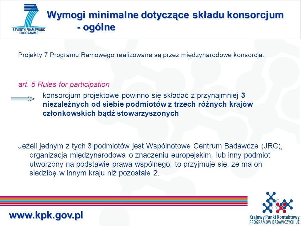 www.kpk.gov.pl Wymogi minimalne dotyczące składu konsorcjum - ogólne Projekty 7 Programu Ramowego realizowane są przez międzynarodowe konsorcja.