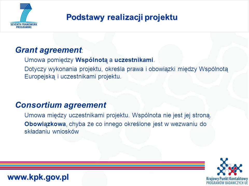 www.kpk.gov.pl Grant agreement Grant Agreement sporządzana jest według wzoru publikowanego przez KE –Core grant agreement –Annex I – Technical Annex –Annex II – General Conditions –Annex III – postanowienia szczególne dla niektórych typów projektów –Annex IV – Form A –Annex V – Form B –Annex VI – Form C – wzór sprawozdania finansowego –Annex VII – Form D –Annex VII – Form E Grant agreement może zawierać ponadto klauzule specjalne.