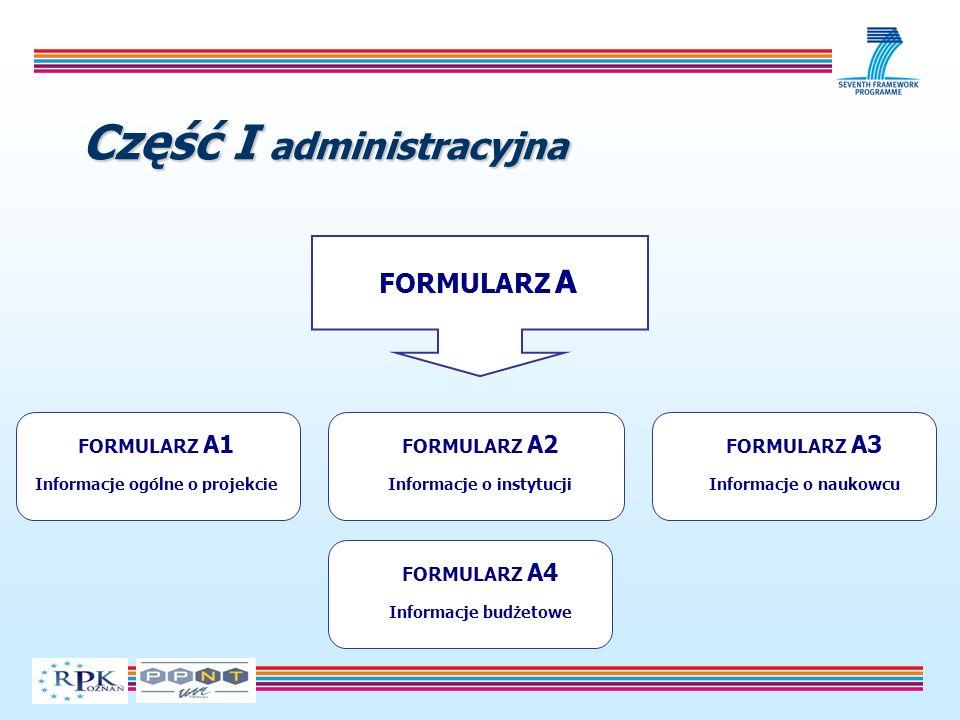 Część I administracyjna FORMULARZ A FORMULARZ A1 Informacje ogólne o projekcie FORMULARZ A2 Informacje o instytucji FORMULARZ A3 Informacje o naukowcu