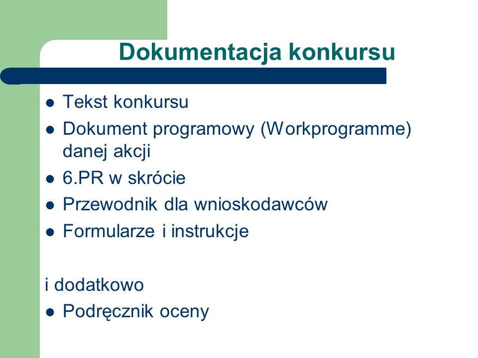 Dokumentacja konkursu Tekst konkursu Dokument programowy (Workprogramme) danej akcji 6.PR w skrócie Przewodnik dla wnioskodawców Formularze i instrukcje i dodatkowo Podręcznik oceny