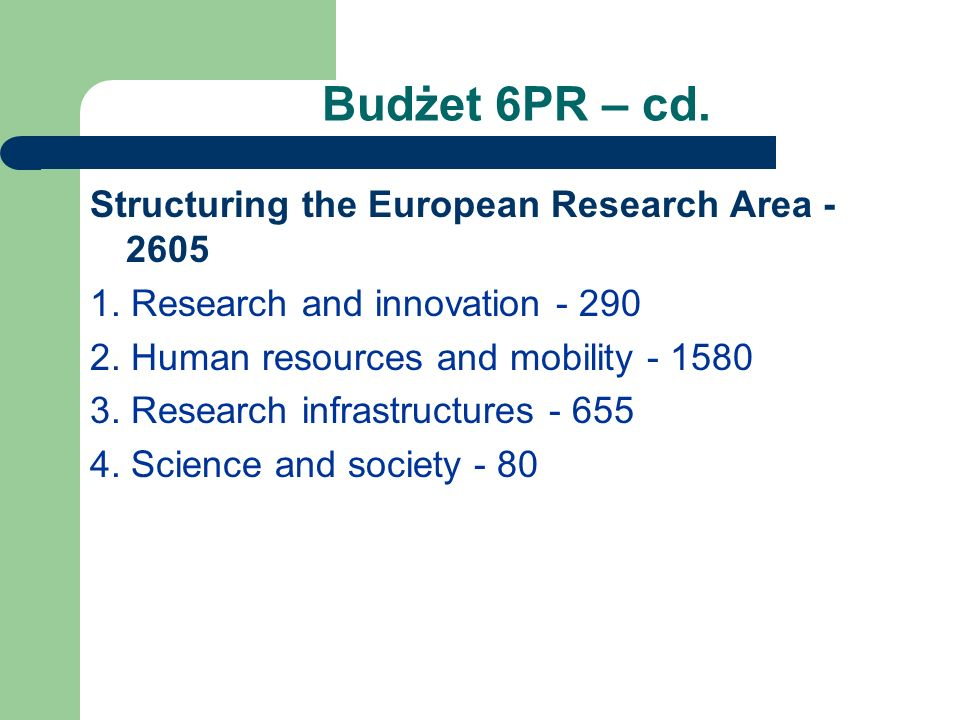 Budżet 6PR – cd. Structuring the European Research Area - 2605 1.