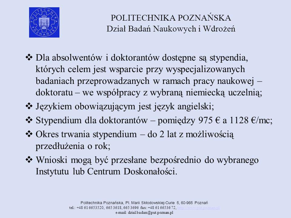 POLITECHNIKA POZNAŃSKA Dział Badań Naukowych i Wdrożeń Politechnika Poznańska, Pl.