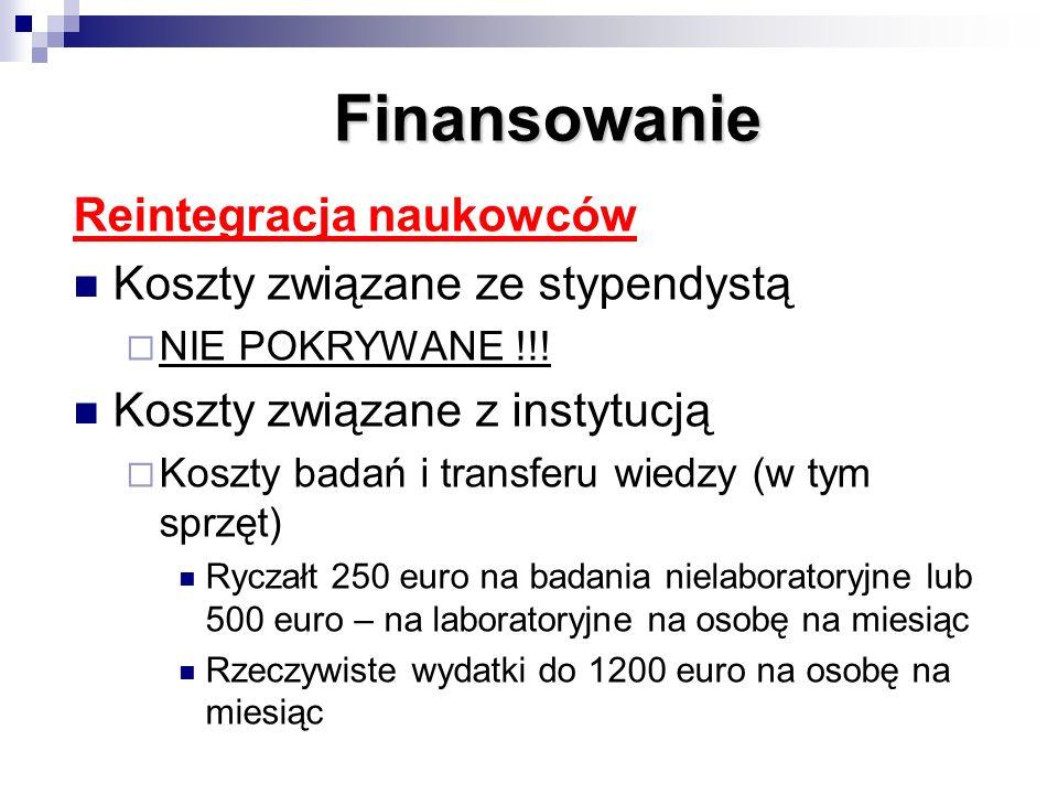 Finansowanie Reintegracja naukowców Koszty związane ze stypendystą NIE POKRYWANE !!! Koszty związane z instytucją Koszty badań i transferu wiedzy (w t