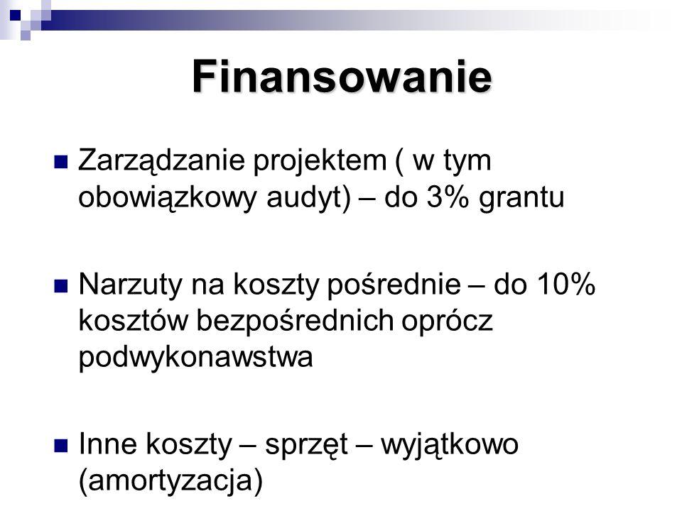 Finansowanie Zarządzanie projektem ( w tym obowiązkowy audyt) – do 3% grantu Narzuty na koszty pośrednie – do 10% kosztów bezpośrednich oprócz podwyko