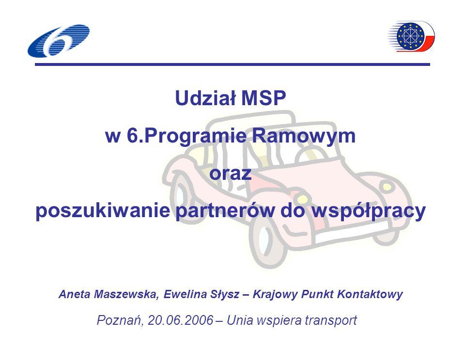 Udział MSP w 6.Programie Ramowym oraz poszukiwanie partnerów do współpracy Aneta Maszewska, Ewelina Słysz – Krajowy Punkt Kontaktowy Poznań, 20.06.2006 – Unia wspiera transport