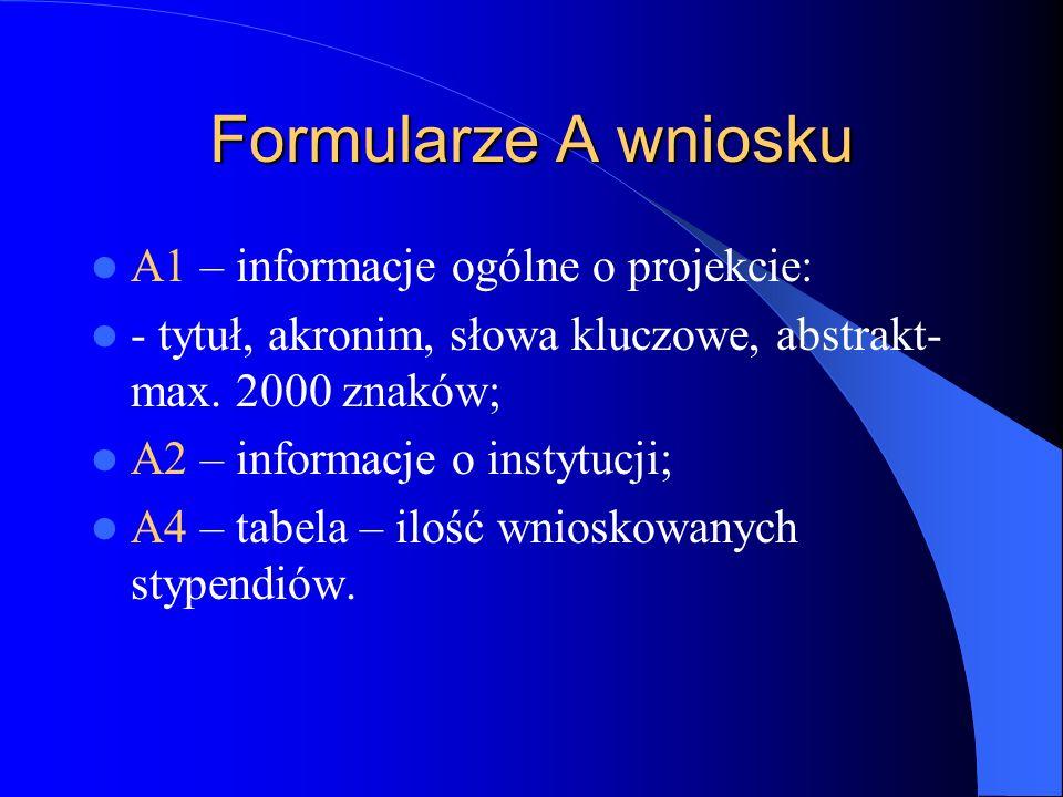 Formularze A wniosku A1 – informacje ogólne o projekcie: - tytuł, akronim, słowa kluczowe, abstrakt- max.