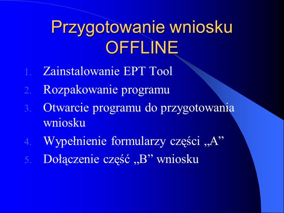 Przygotowanie wniosku OFFLINE 1. Zainstalowanie EPT Tool 2.