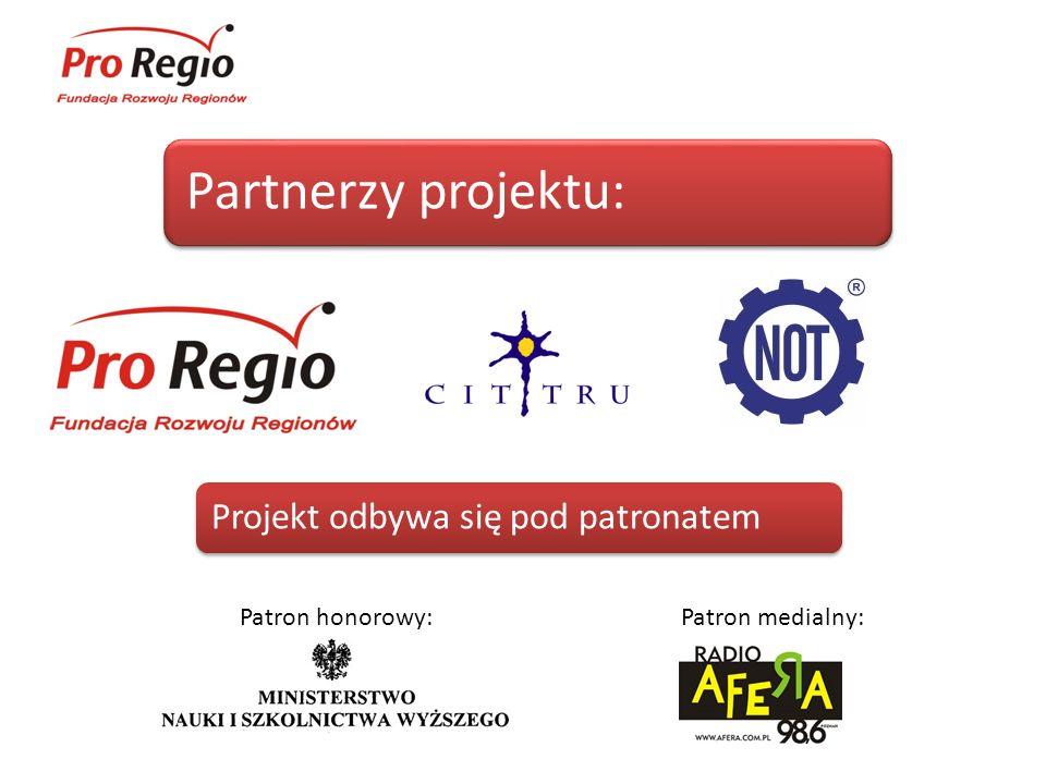Partnerzy projektu: Projekt odbywa się pod patronatem Patron medialny:Patron honorowy: