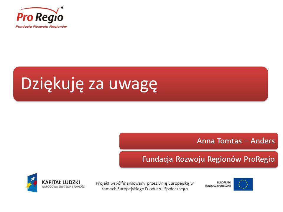 Dziękuję za uwagę Projekt współfinansowany przez Unię Europejską w ramach Europejskiego Funduszu Społecznego Anna Tomtas – AndersFundacja Rozwoju Regi